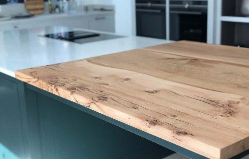 Rag and Byrne Handmade Tables Kent_1.5m x 1.5m Oak Counter Top Black Resin Fill