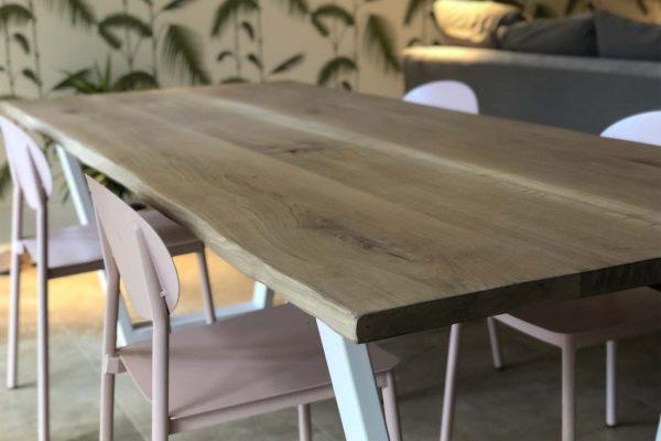 Rag and Byrne Handmade Tables Kent_Custom Solid Oak Table with White Delta Leg