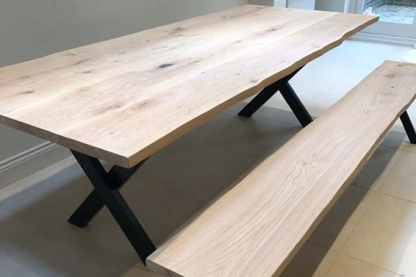 Table 2.2m x 1 m  X leg & Bench Finished in Smoke